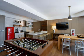 Clubroom game area and kitchen
