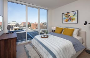 Bedroom With Expansive Windows at North+Vine, Chicago