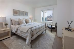 Beautiful Bright Bedroom With Wide Windows at North+Vine, Chicago, IL