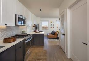 Electric Range In Kitchen at North+Vine, Chicago, 60610