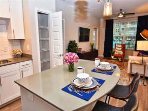 Pointe at Lake CrabTree Living Room Come Kitchen View in Morrisville Apartment Rentals