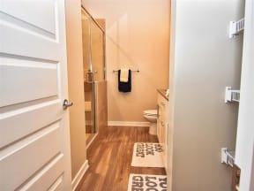 Lever-Style Door And Faucet Handles In Pointe at Lake CrabTree Bathroom in Morrisville, NC Apartments for Rent