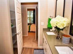 Renovated Pointe at Lake CrabTree Bathrooms With Quartz Counters in North Carolina Rentals