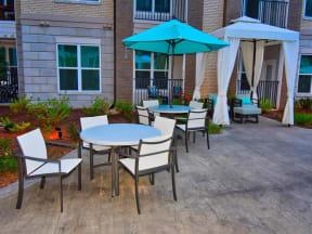 Shaded Courtyard Pointe at Lake CrabTree Patio in Morrisville, North Carolina Apartment Homes