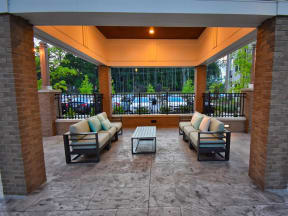 Spacious, Landscaped Patio and Private Courtyard at Pointe at Lake CrabTree in North Carolina Apartments for Rent
