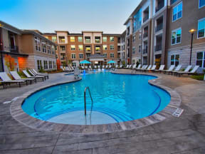Pointe at Lake CrabTree Pool Side Relaxing Area With Sundeck in Morrisville Apartment Rentals for Rent