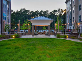 Pointe at Lake CrabTree Courtyard With Green Space in North Carolina Apartment Homes for Rent
