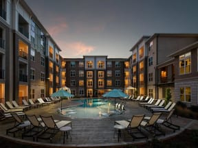 Pointe at Lake CrabTree Lounge Swimming Pool With Cabana in Morrisville, NC Apartment Homes