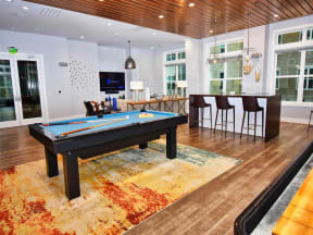 Billiards Table at Pointe at Lake CrabTree Apartment Homes for Rent in Morrisville