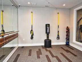 Free Weights And Cardio Equipment in Pointe at Lake CrabTree Apartment Rentals in Morrisville, North Carolina