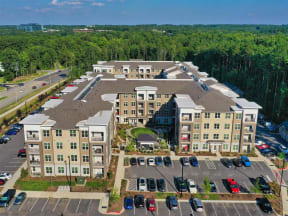 Aerial Exterior View of Pointe at Lake CrabTree Apartments in Morrisville, NC