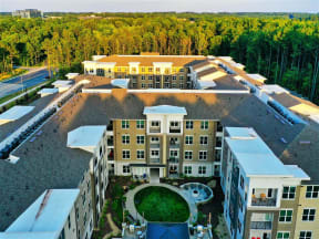 Aerial View Of Pointe at Lake CrabTree in Morrisville Apartment Homes for Rent