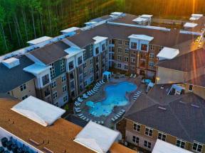 Aerial View Of Pointe at Lake CrabTree in Morrisville, NC Rental Homes