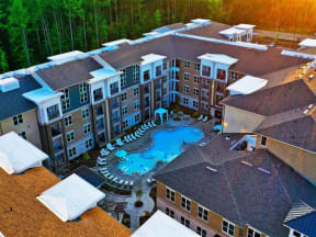 Aerial View Of Pointe at Lake CrabTree Pool in Morrisville, NC Apartments for Rent