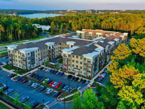 Aerial View Of Pointe at Lake CrabTree Property in Morrisville Apartment Rentals