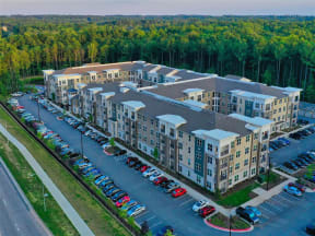 Aerial Exterior View of Pointe at Lake CrabTree in Morrisville, North Carolina Apartment Homes