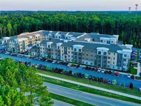 Aerial View Of Pointe at Lake CrabTree in North Carolina Apartment Rentals