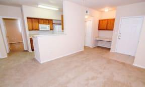 Portofino Senior Apartments Front Door and Living Area with Kitchen