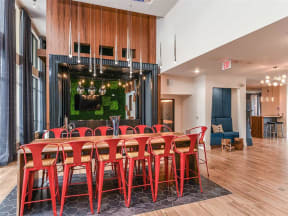 Another view of Coda Orlando clubhouse seating areas with different themes in Orlando, FL