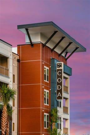 Shot of Coda Orlando signage attached to apartment building in Orlando, FL