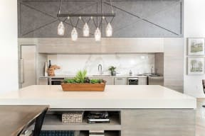 demonstration kitchen with large island