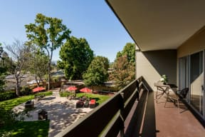 Balcony view of outdoor courtyard area