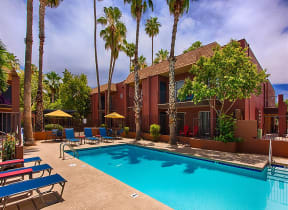 Pool Side Relaxing Area at Fountain Plaza Apartments, 2345 N. Craycroft