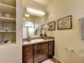 Bathroom l Eaton Village Apartments in Chico CA
