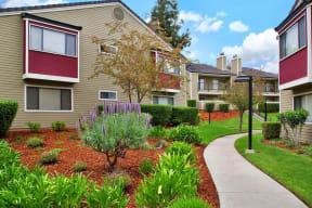 Apt Building w/ path Apartments in Pittsburg, CA l Kirker Creek Apartments