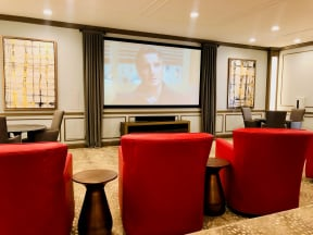 movie theater with seating for residents at hollybrook ranch