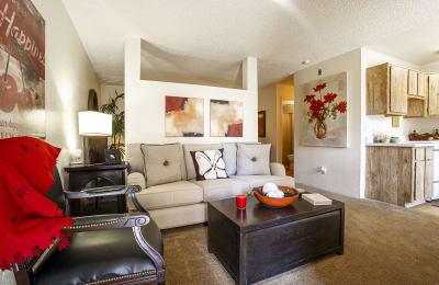 Living room at Comanche Wells Apartments in Albuquerque NM October 2020