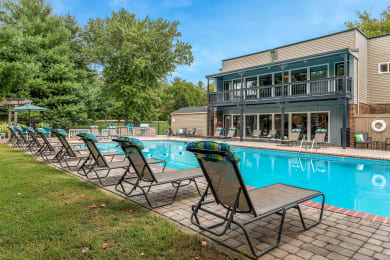 Pool and pool patio at Carrington Apartments in Hendersonville TN March 2021