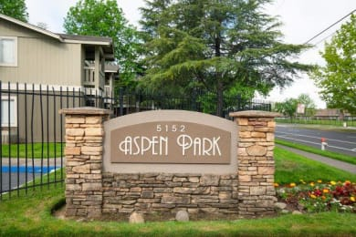 Welcoming Property Signage at Aspen Park Apartments, Sacramento, CA, 95823