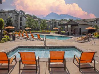 Hot Tub And Swimming Pool at Falls at Riverwoods Apartments & Townhomes, Logan, 84321