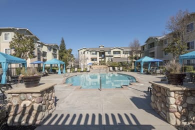 Picturesque Pool And Cabana Setting at Waterstone Apartments, Tracy, CA, 95377