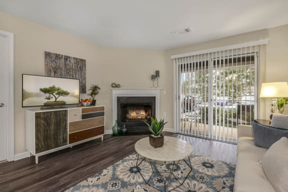 Living Room With Expansive Window at Westerly at Worldgate, Herndon, Virginia