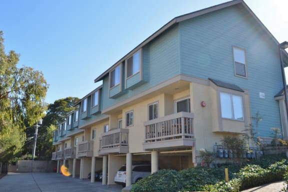 Exterior View of Pacific Vista Apartments in Monterey, CA with Nature-Friendly Surroundings