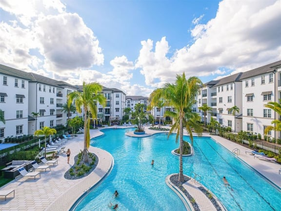 Pool with islands and lap lanes at Inspira, Naples, FL
