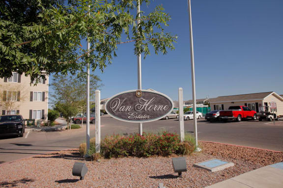 Welcome Sign at Van Horne Estates Apartments, Texas