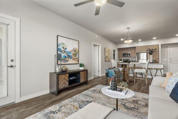 Living room at V on Broadway Apartments in Tempe AZ November 2020