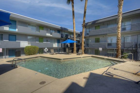 Pool and lounge at Radius Apartments in Phoenix AZ Nov 2020