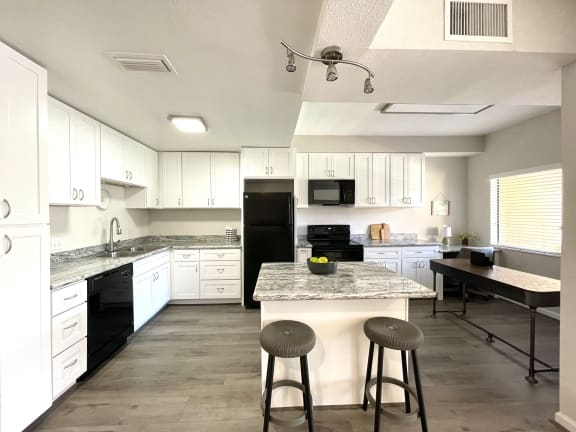 Large kitchen with island at Augusta Court Apartments, Houston, Texas