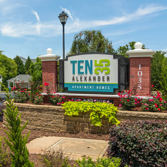 Entrance sign to Ten35 Alexander apartments for rent in Augusta, GA