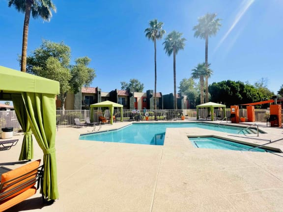 Sparking pool with cabanas