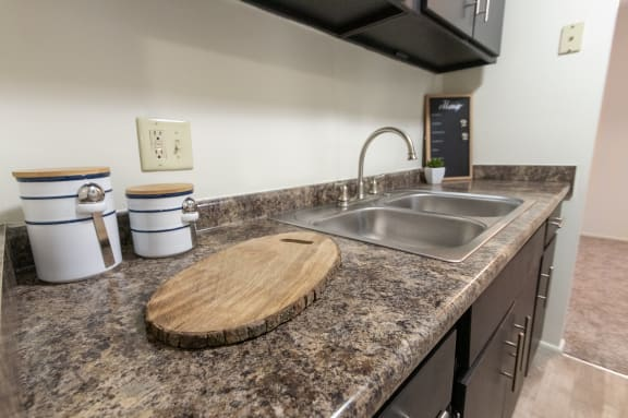This is a picture of the kitchen of a 578 sq foot 1 bedroom apartment at Red Bank Reserve in Cincinnati, Ohio.