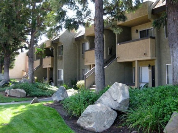 Exterior with Grassy Area and Rocks at Scripps Poway Villas
