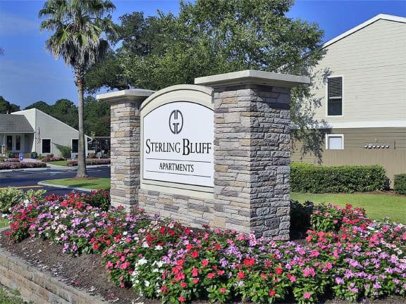Welcoming Property Signage at Sterling Bluff Apartments, Savannah