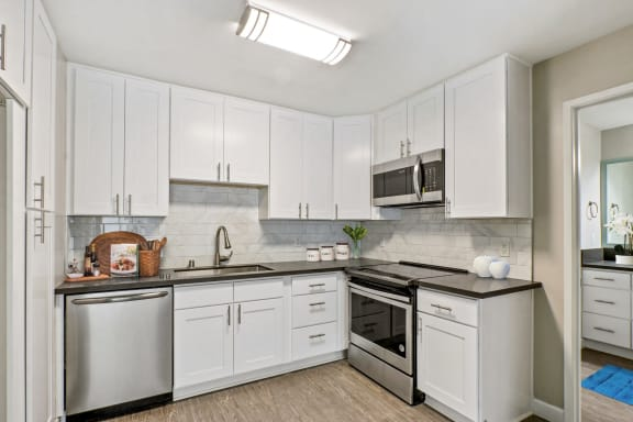 Kitchen with stainless steel dishwasher, electric stove, microwave, gray quartz countertops, tile backsplash