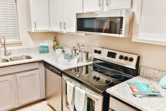kitchen with granite countertops and stainless steel appliances at Berry Falls Apartments, Alabama