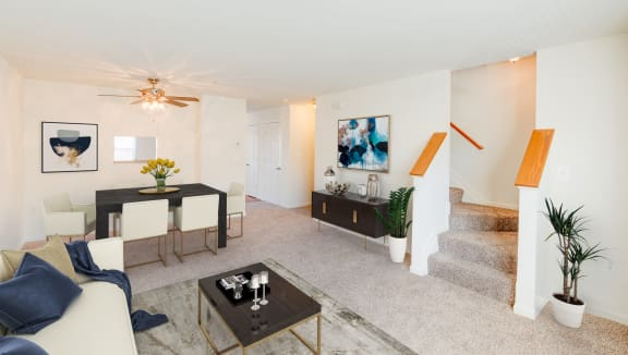 Staged living and dining area